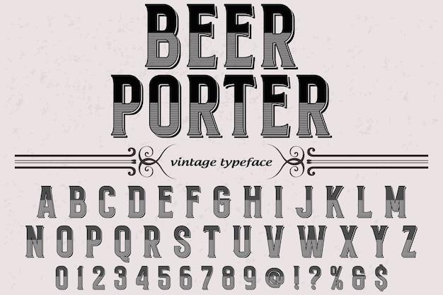 Portineria di birra con design di etichetta retro carattere