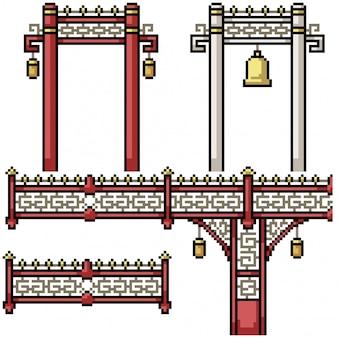 Portone di lusso del recinto del ponte isolato arte del pixel