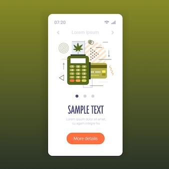 Pos terminal e carta di credito vendita di cannabis medica concetto di marijuana consumo di droga schermo dello smartphone app mobile online copia spazio