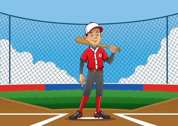 Posa del giocatore di baseball sul campo