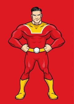 Posa del supereroe con le mani sui fianchi