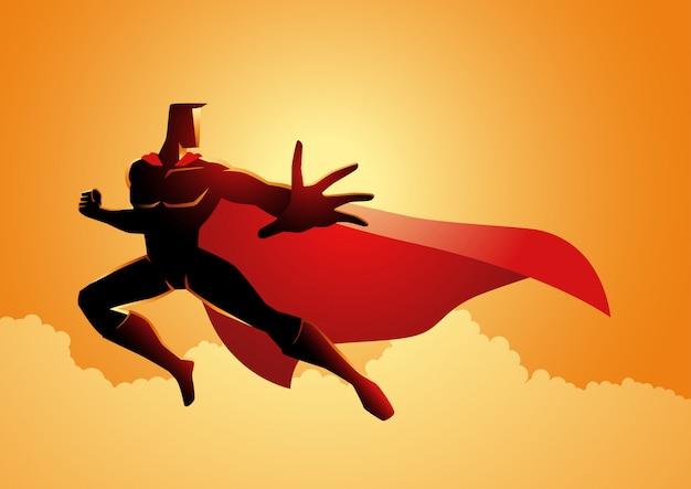 Posa del supereroe in azione