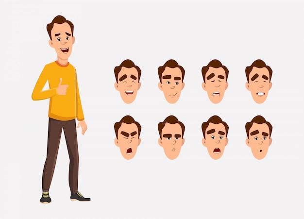 Posa diritta dell'uomo casuale con differenti emozioni o espressioni facciali