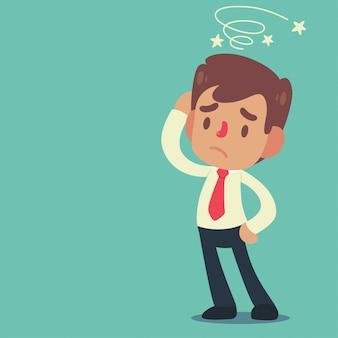 Posa e gesti dell'uomo d'affari che stanno confusi