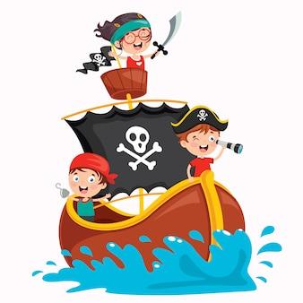 Posa sveglia dei piccoli bambini del pirata