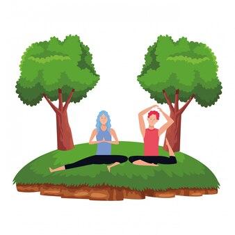 Posa yoga di coppia