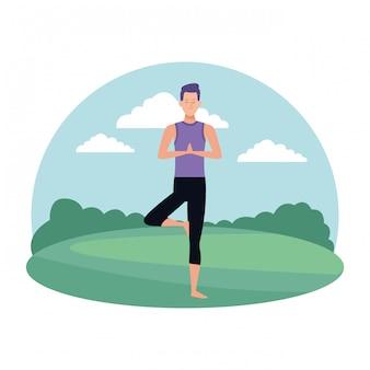 Posa yoga uomo
