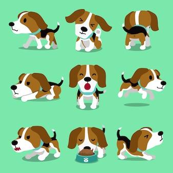 Pose del cane beagle personaggio dei cartoni animati