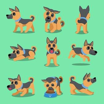 Pose del cane da pastore tedesco del personaggio dei cartoni animati