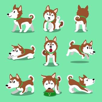 Pose del cane del husky siberiano di marrone del personaggio dei cartoni animati