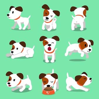 Pose del cane del terrier di russell della presa del personaggio dei cartoni animati