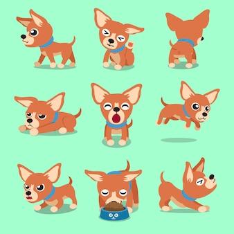 Pose del cane della chihuahua di marrone del personaggio dei cartoni animati di vettore