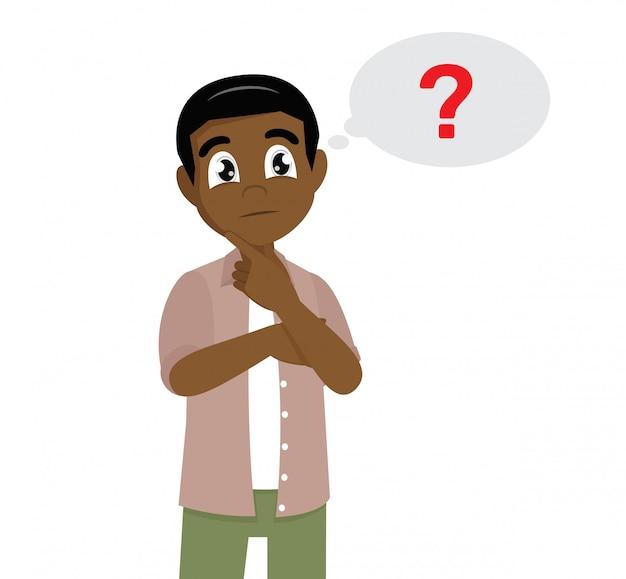 Pose del personaggio dei cartoni animati, pensiero dell'uomo africano. icona del punto interrogativo nella bolla di pensiero