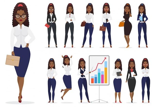 Pose differenti del carattere nero afroamericano della donna di affari della donna di affari messe. disegno femminile del fumetto.