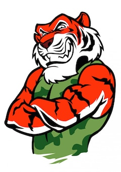 Posizione del combattente della tigre del muscolo