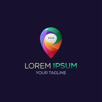 Posizione del pin del logo e chat dell'icona per l'app di avvio dell'attività di identità di marca