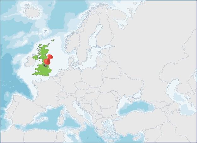 Posizione del regno unito sulla mappa dell'europa