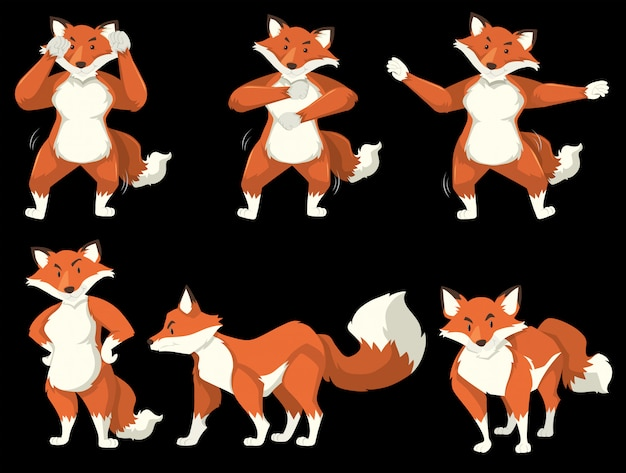 Posizione di danza del personaggio volpe