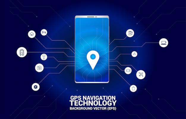 Posizione marcatore pin gps nel telefono cellulare con grafica a circuito. concetto di posizione e struttura, tecnologia gps