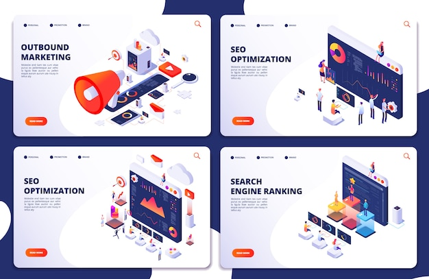 Posizione nei motori di ricerca, pagine di destinazione isometriche di ottimizzazione seo. seo marketing e analisi, risultato classifica online