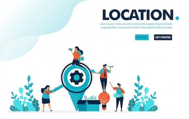 Posizione, persone in cerca di posizioni per inviare una scatola di idee per la consegna e il servizio aziendale.