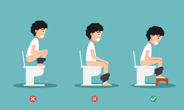 Posizioni non salutari o sane per l'illustrazione defecata