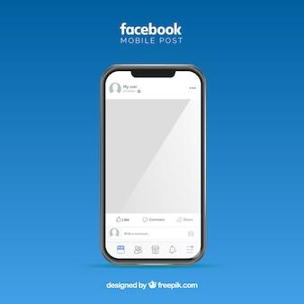 Post cellulare facebook con design piatto