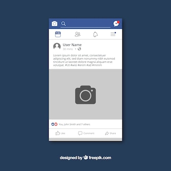 Post cellulare facebook con design piatto