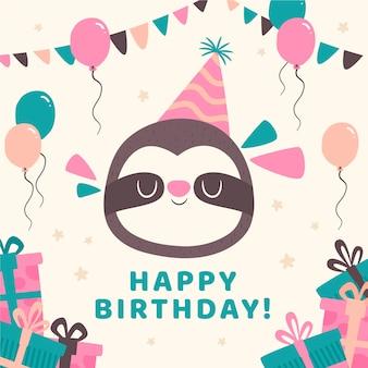 Post di instagram di compleanno con animale bradipo e palloncini