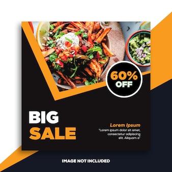 Post di instagram o modello di banner quadrato per ristoranti alimentari