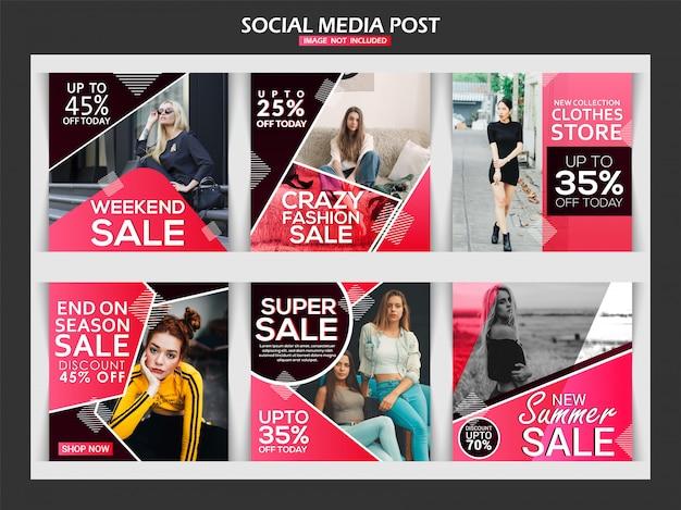 Post di media sociali di vendita di moda creativa