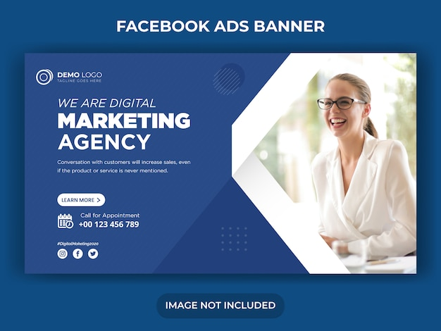 Post di social media marketing digitale e modello di banner ads di facebook