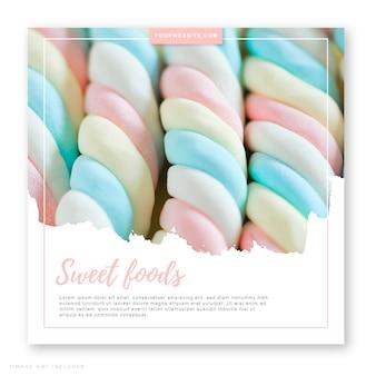 Post su social media per alimenti dolci