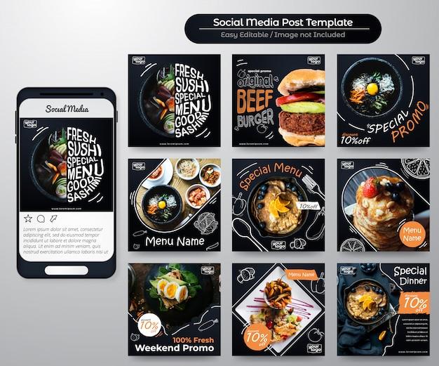 Post sui feed dei social media per la promozione alimentare