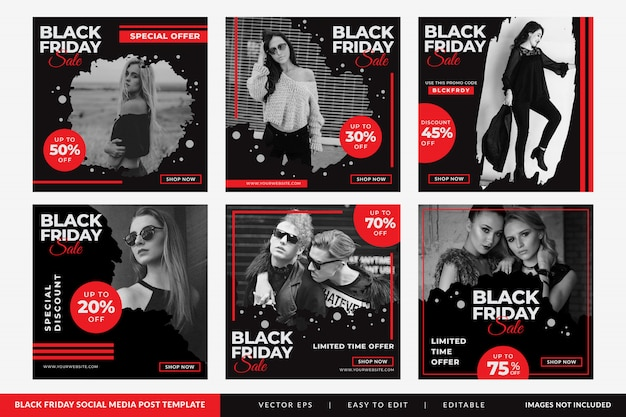 Post sui social media di vendita di moda del black friday