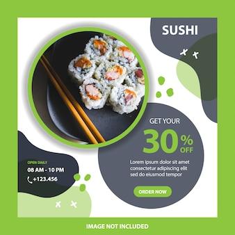 Post sui social media per la promozione di alimenti per sushi