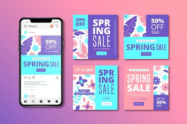 Posta di instagram di vendita della primavera con il telefono cellulare