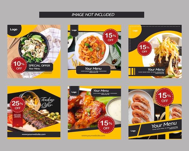 Posta di promozione dell'annuncio di instagram del ristorante dell'alimento dell'insegna quadrata