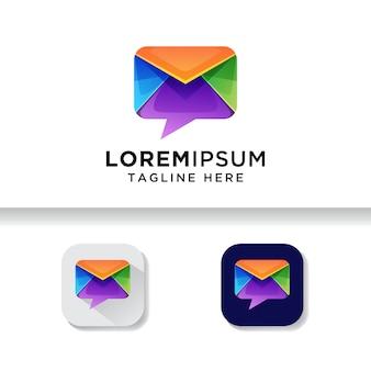 Posta di talk colorato, modello di logo di chat di posta
