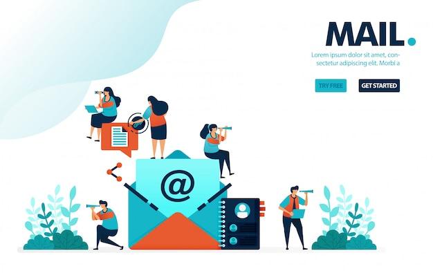 Posta e contatto, lettera o busta per inviare e condividere messaggi.