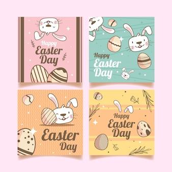Posta felice del instagram di giorno di pasqua con le uova e l'avatar del coniglio