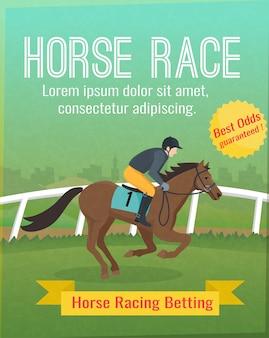Poster a colori con titolo che mostra l'equitazione sportiva