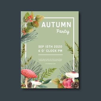 Poster a tema autunnale con piante