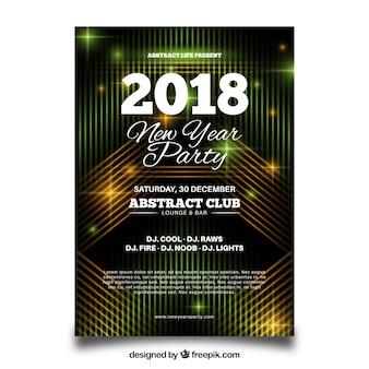 Poster astratta di partito per il nuovo anno con elementi neon gialli e verdi