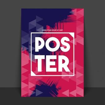 Poster astratto, banner o volantino con motivo triangolare geometrico nei colori viola e rosa.