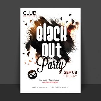 Poster, banner o flyer di black out party con tratti pennello astratti.
