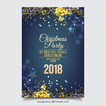 Poster blu brillante del partito di nuovo anno