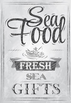 Poster carbone di frutti di mare