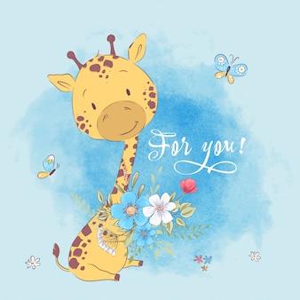 Poster carino giraffa fiori e farfalle. disegno a mano stile cartoon illustrazione vettoriale