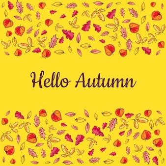 Poster ciao autunno con foglie colorate disegnate a mano